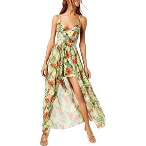 XOXO Yellow & Green Floral Printed Maxi Romper